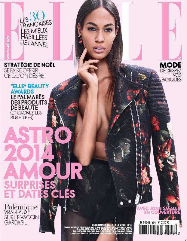 Joan Smalls featured on the Elle France cover from December 2013