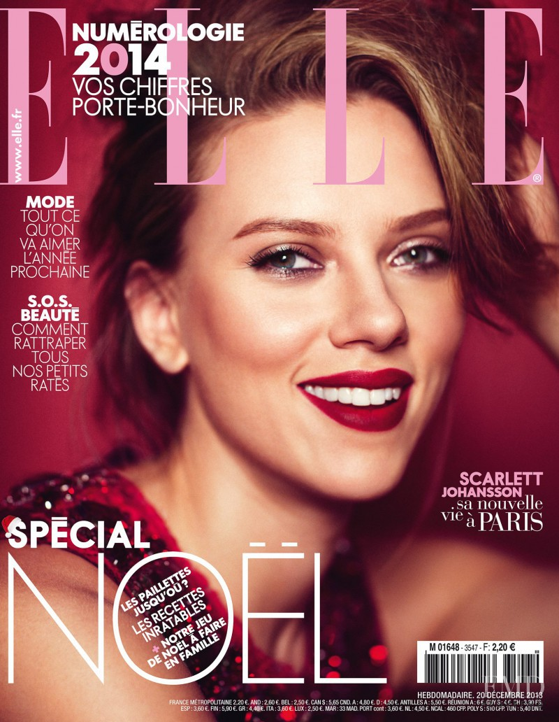 Scarlett Johansson featured on the Elle France cover from December 2013