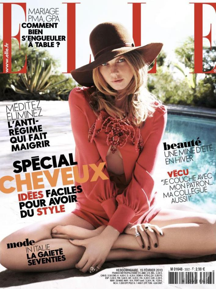 Angela Lindvall featured on the Elle France cover from February 2013