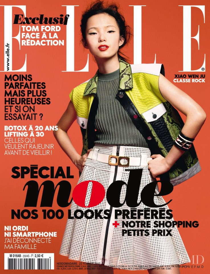 Xiao Wen Ju featured on the Elle France cover from February 2013