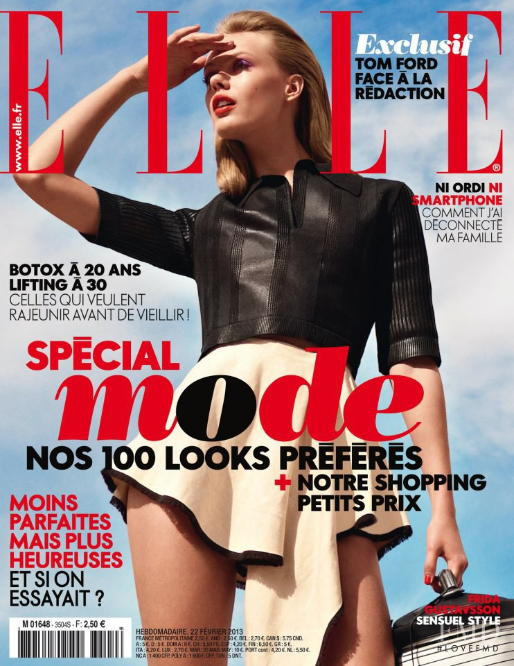 Frida Gustavsson featured on the Elle France cover from February 2013