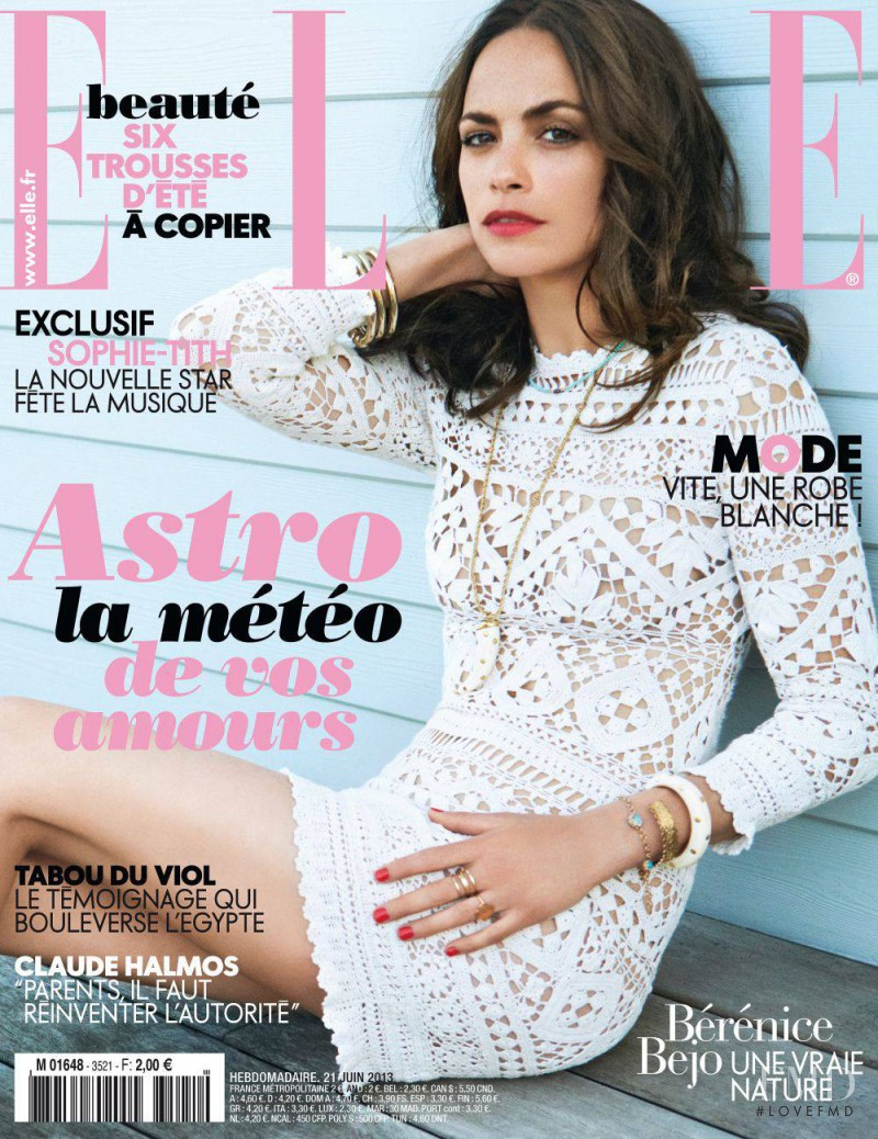 Bérénice Bejo featured on the Elle France cover from June 2013