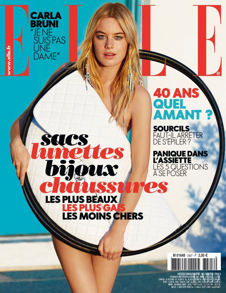 Camille Rowe featured on the Elle France cover from March 2013