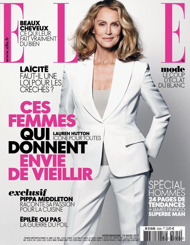 Lauren Hutton featured on the Elle France cover from March 2013