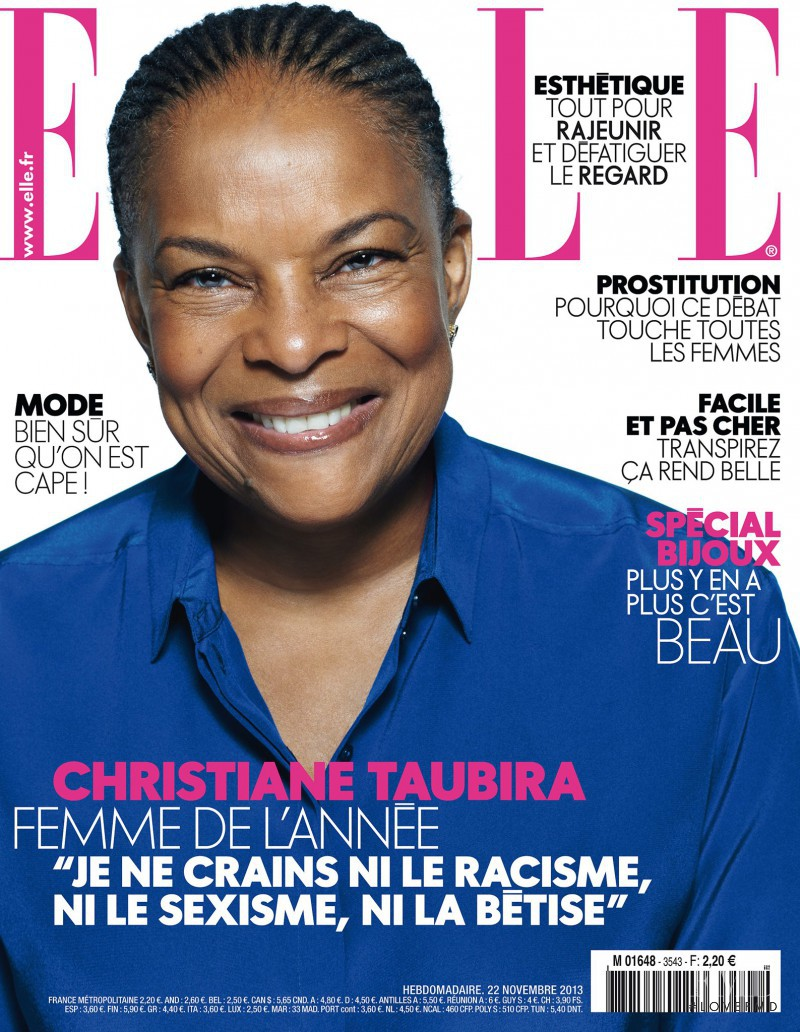Christiane Taubira featured on the Elle France cover from November 2013