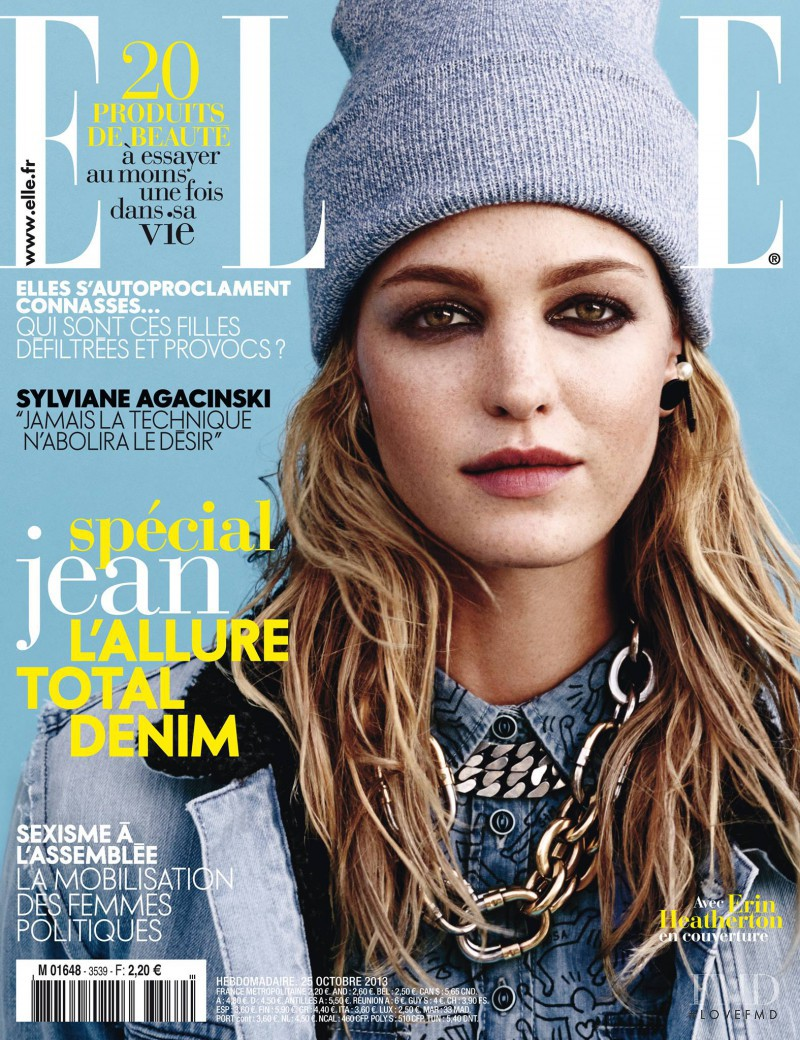Erin Heatherton featured on the Elle France cover from October 2013