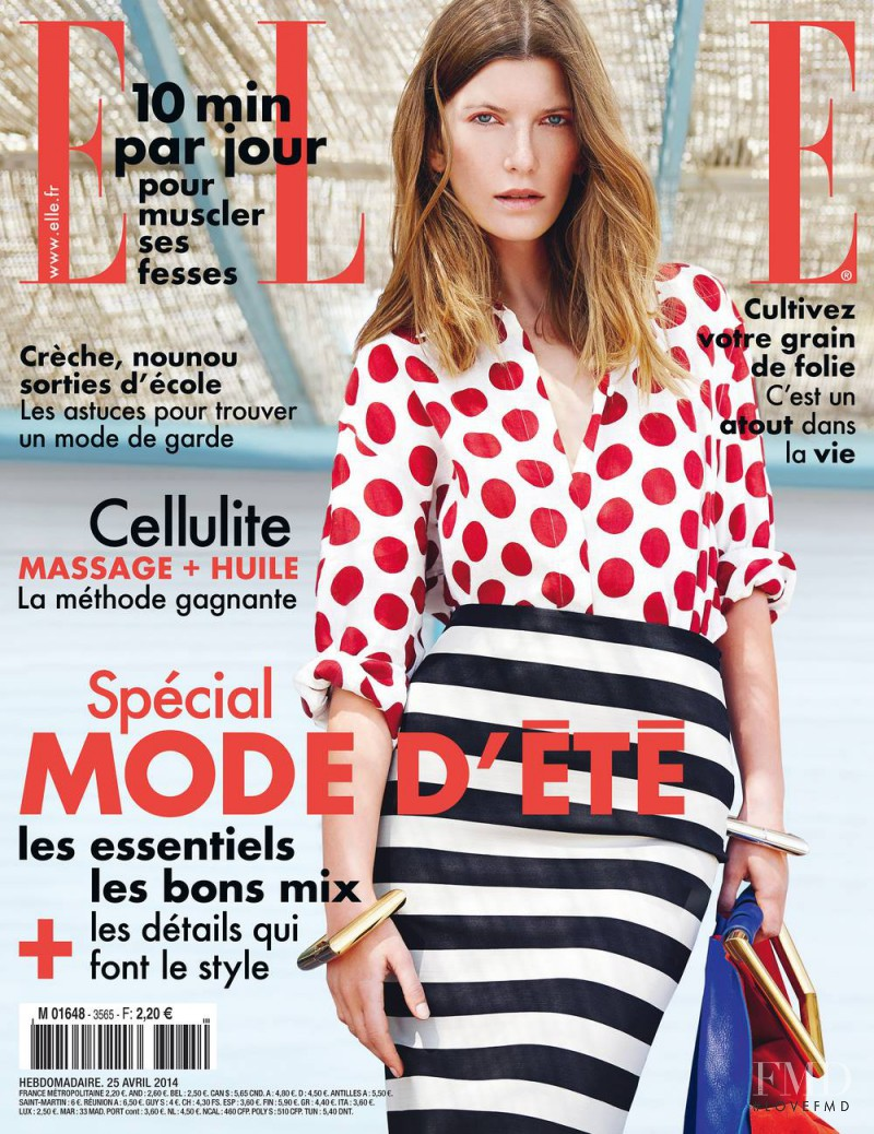 Valerija Kelava featured on the Elle France cover from April 2014