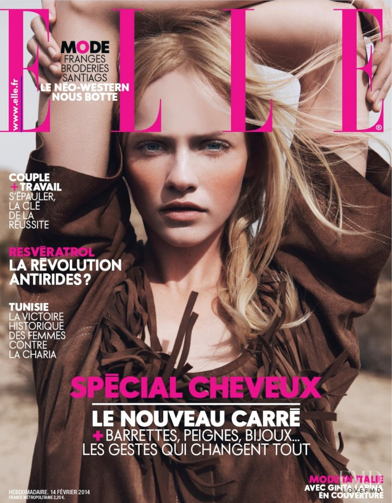 Ginta Lapina featured on the Elle France cover from February 2014