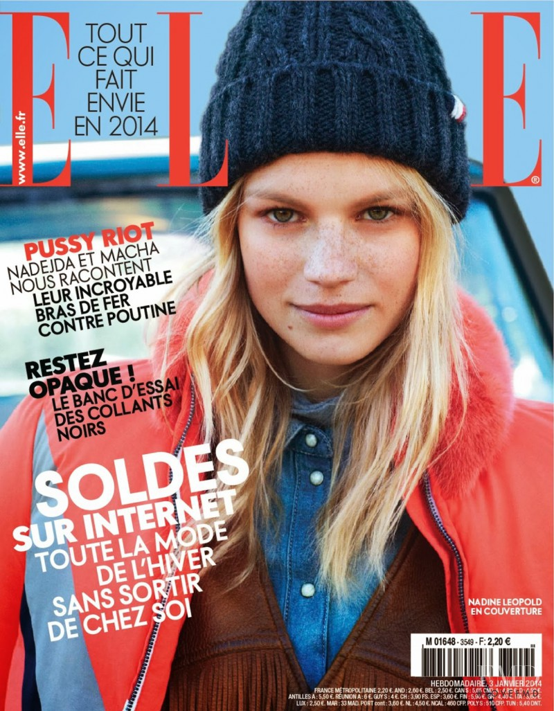 Nadine Leopold featured on the Elle France cover from January 2014