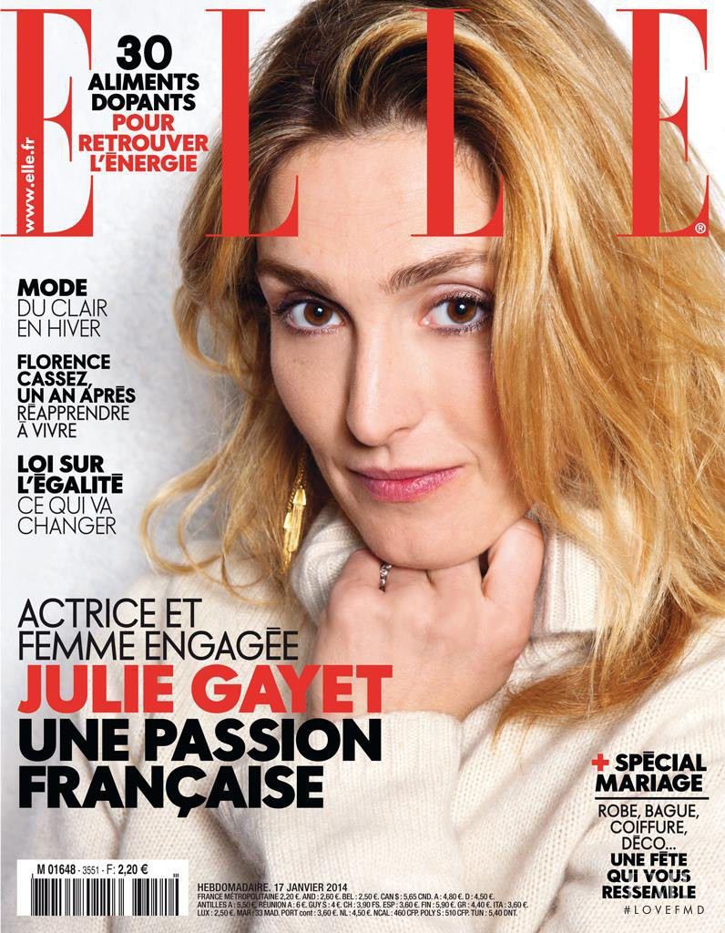 Julie Gayet featured on the Elle France cover from January 2014