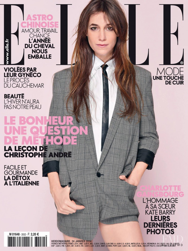 Charlotte Gainsbourg featured on the Elle France cover from January 2014