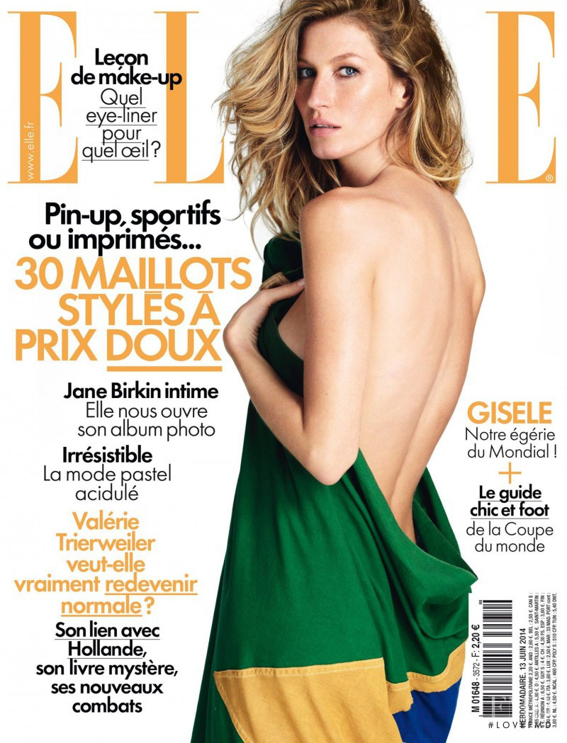 Gisele Bundchen featured on the Elle France cover from June 2014