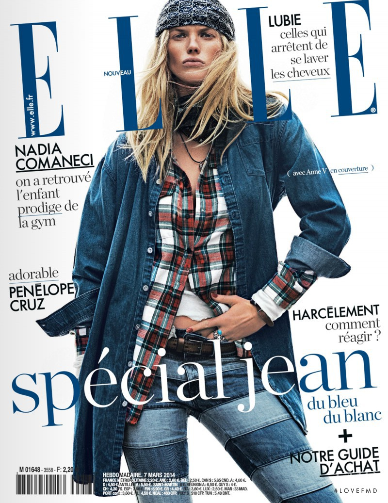 Anne Vyalitsyna featured on the Elle France cover from March 2014