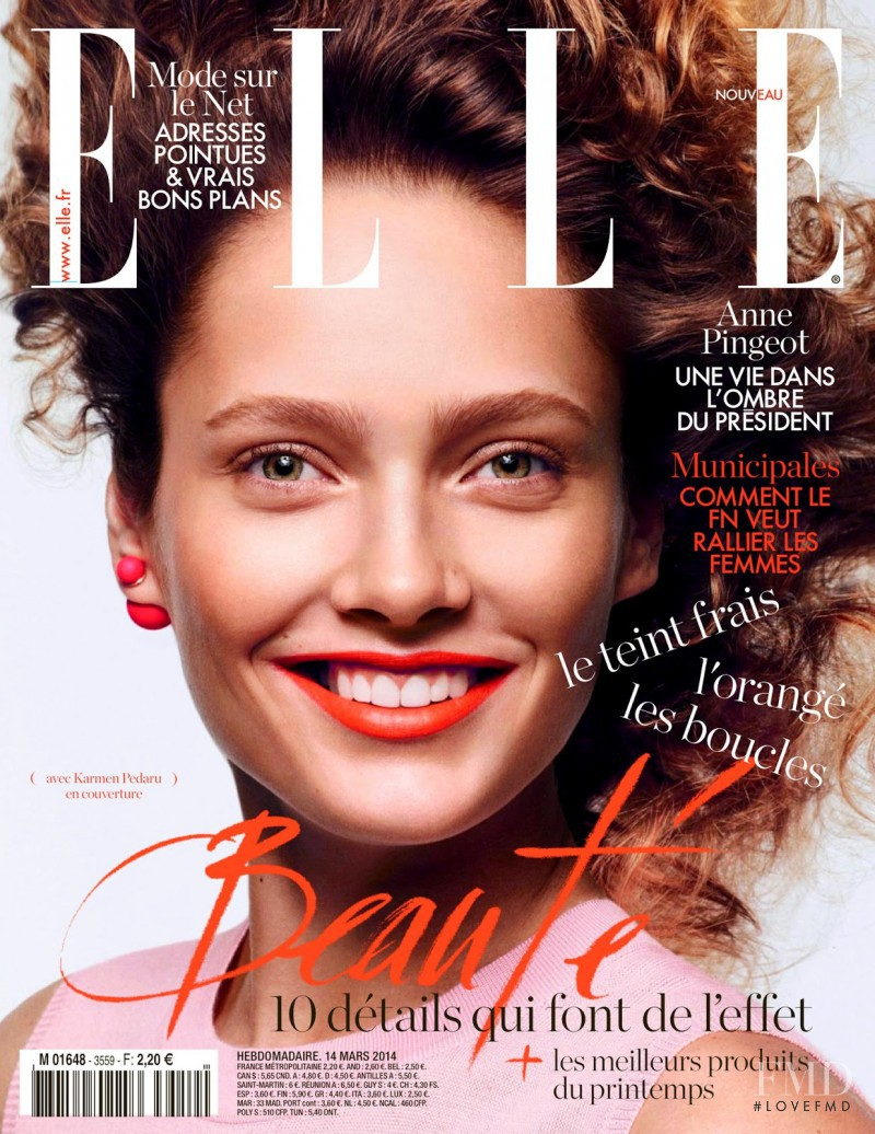 Karmen Pedaru featured on the Elle France cover from March 2014