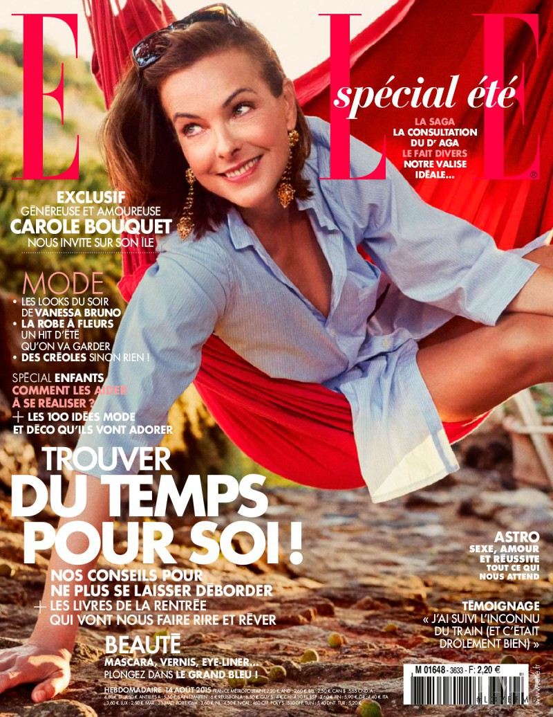 Carole Bouquet featured on the Elle France cover from August 2015