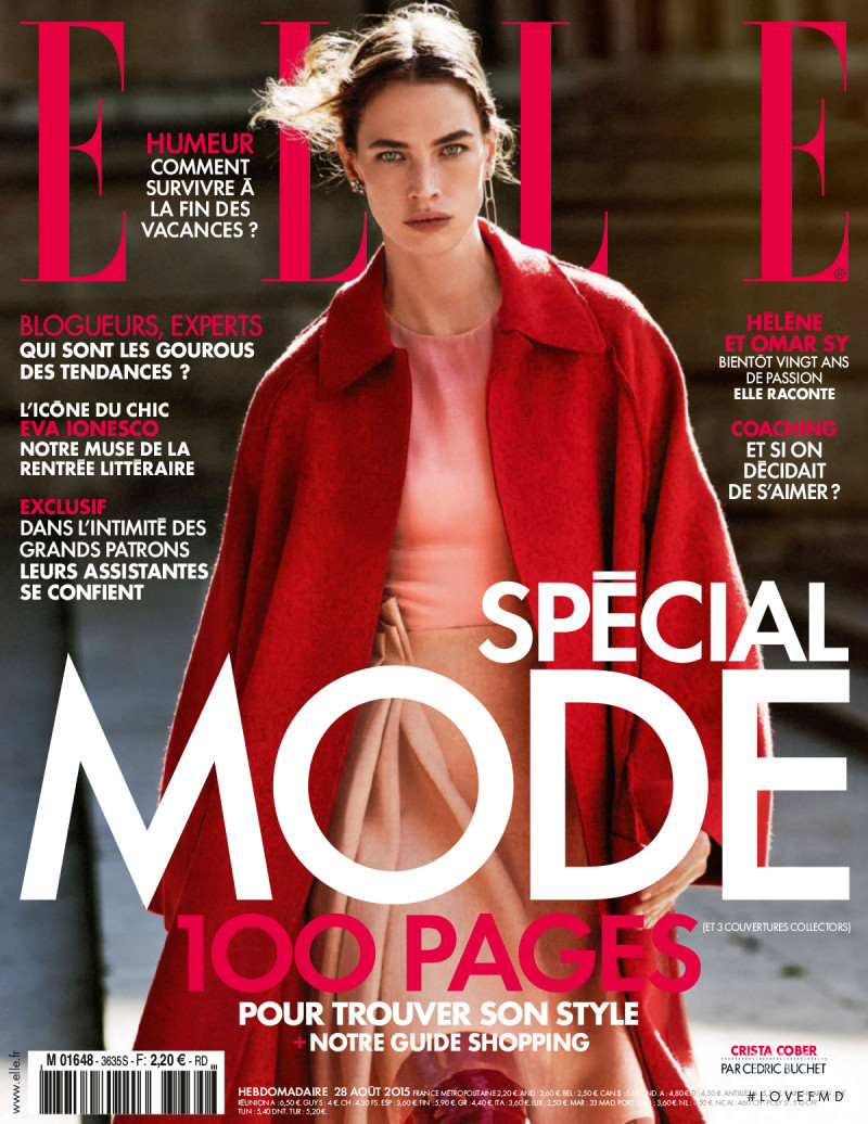Crista Cober featured on the Elle France cover from August 2015