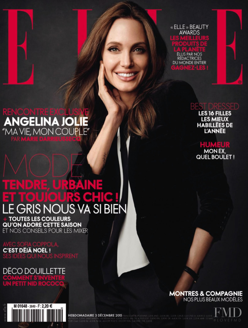 Angelina Jolie  featured on the Elle France cover from December 2015