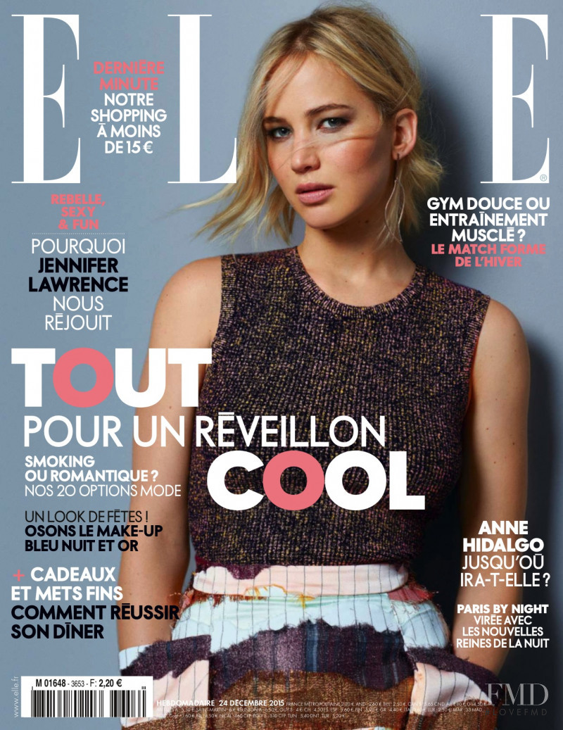 Jennifer Lawrence  featured on the Elle France cover from December 2015