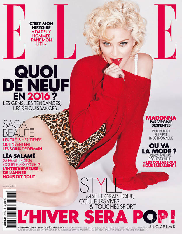 Madonna featured on the Elle France cover from December 2015