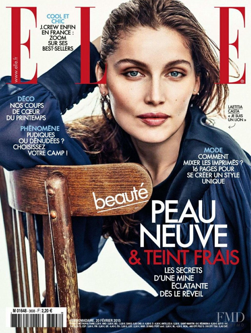Laetitia Casta featured on the Elle France cover from February 2015