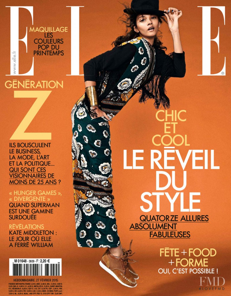 Marina Nery featured on the Elle France cover from February 2015
