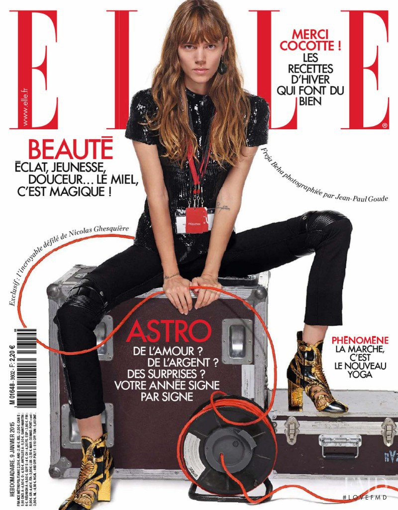 Freja Beha Erichsen featured on the Elle France cover from January 2015