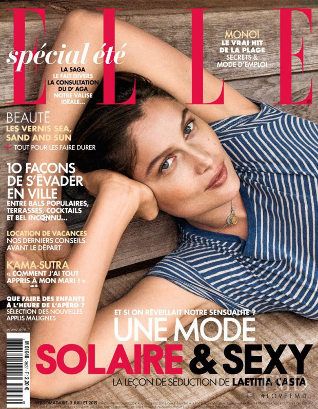 Laetitia Casta featured on the Elle France cover from July 2015