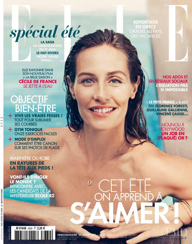 Cécile de France featured on the Elle France cover from July 2015