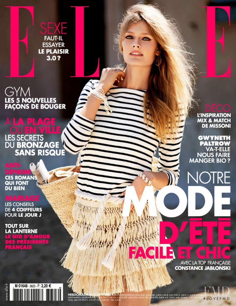 Constance Jablonski featured on the Elle France cover from June 2015