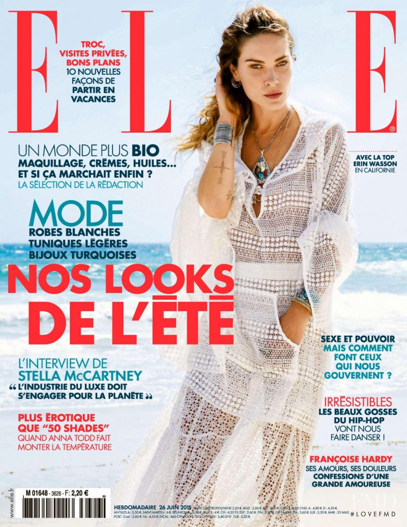 Erin Wasson featured on the Elle France cover from June 2015