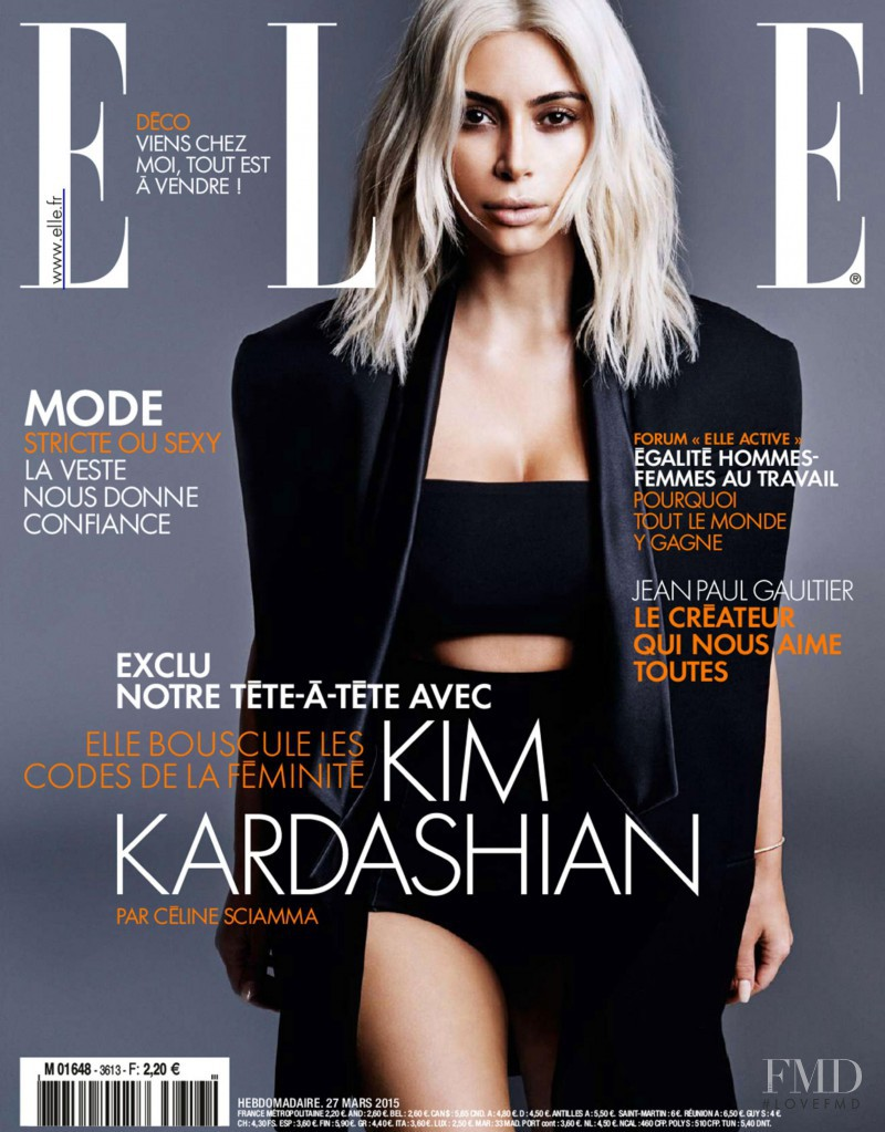 Kim Kardashian featured on the Elle France cover from March 2015
