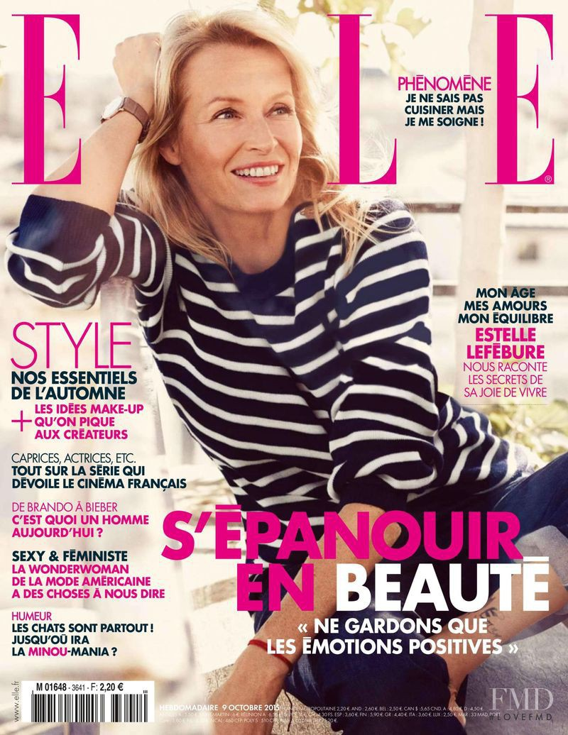 Estelle Hallyday (Lefebure) featured on the Elle France cover from October 2015