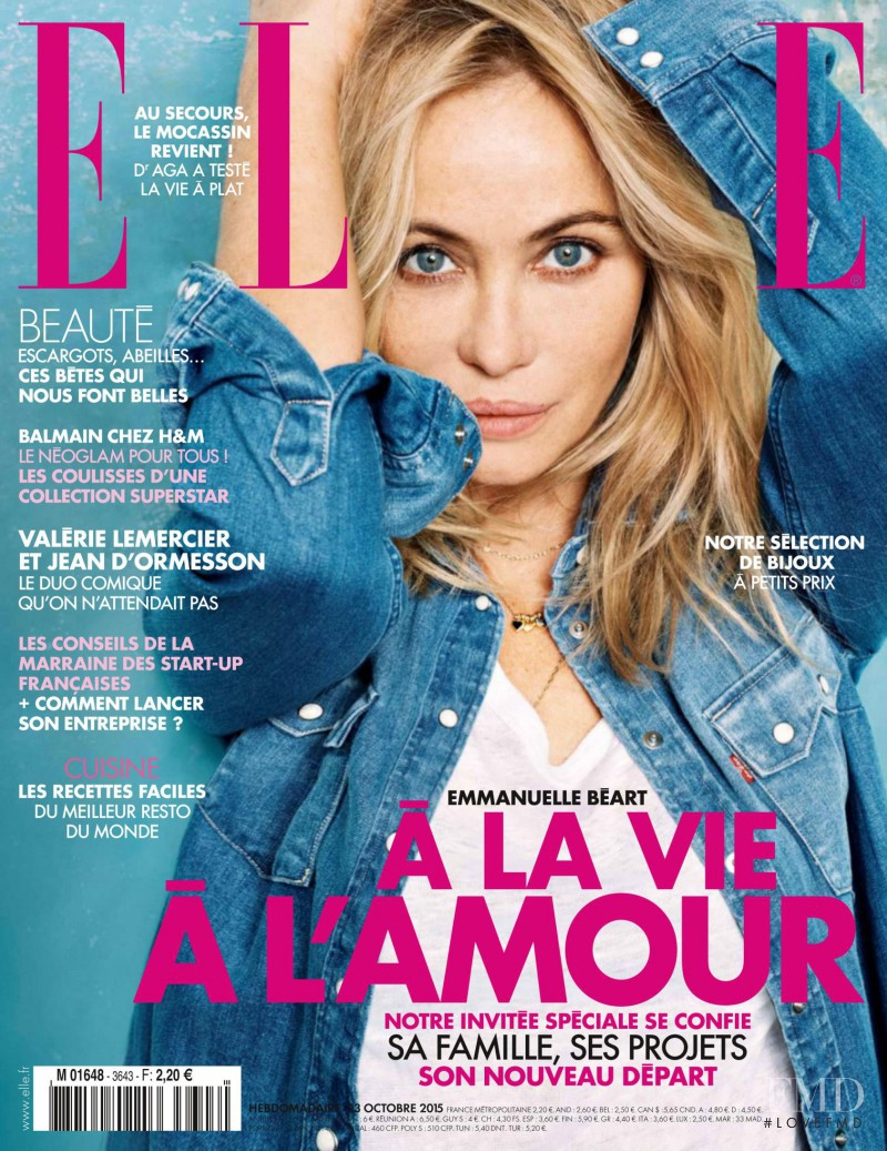 Emmanuelle Beart featured on the Elle France cover from October 2015