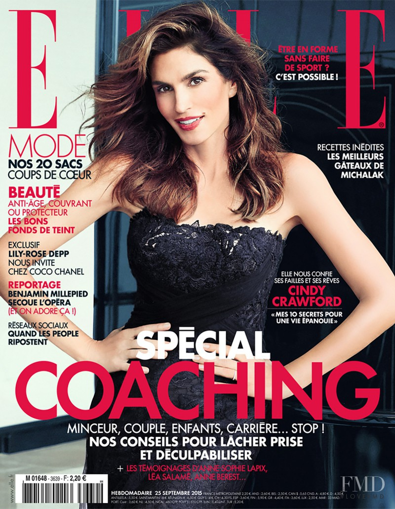 Cindy Crawford featured on the Elle France cover from September 2015