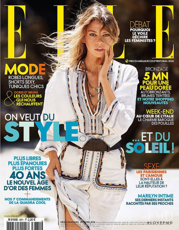 Stella Maxwell featured on the Elle France cover from April 2016