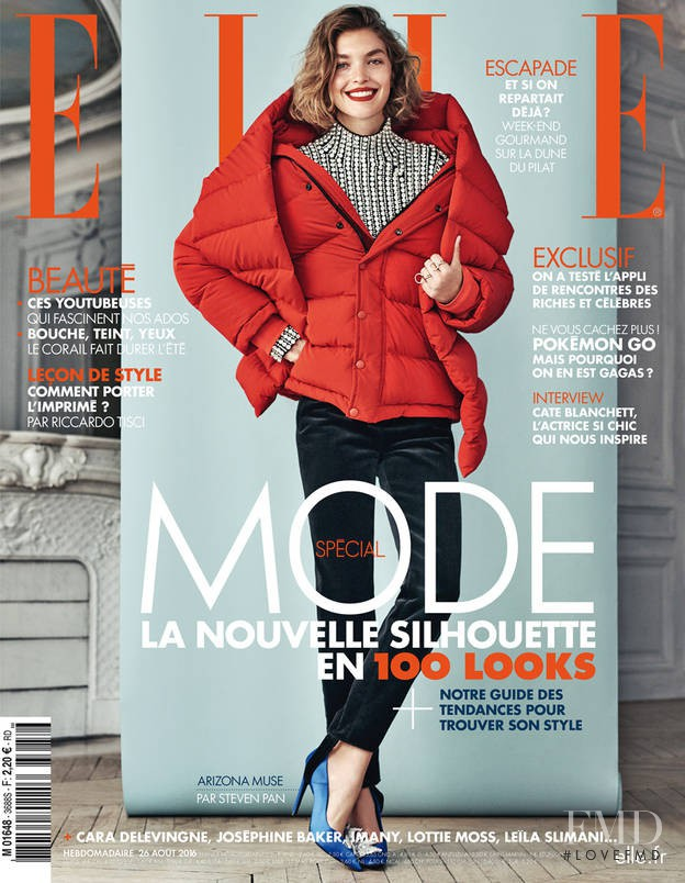 Arizona Muse featured on the Elle France cover from August 2016