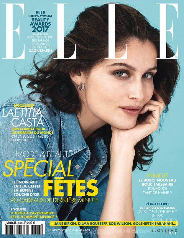Laetitia Casta featured on the Elle France cover from December 2016