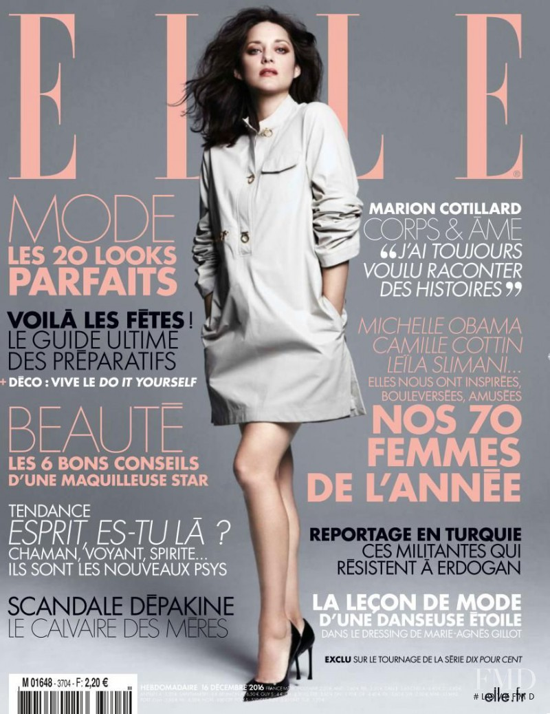 Marion Cotillard featured on the Elle France cover from December 2016