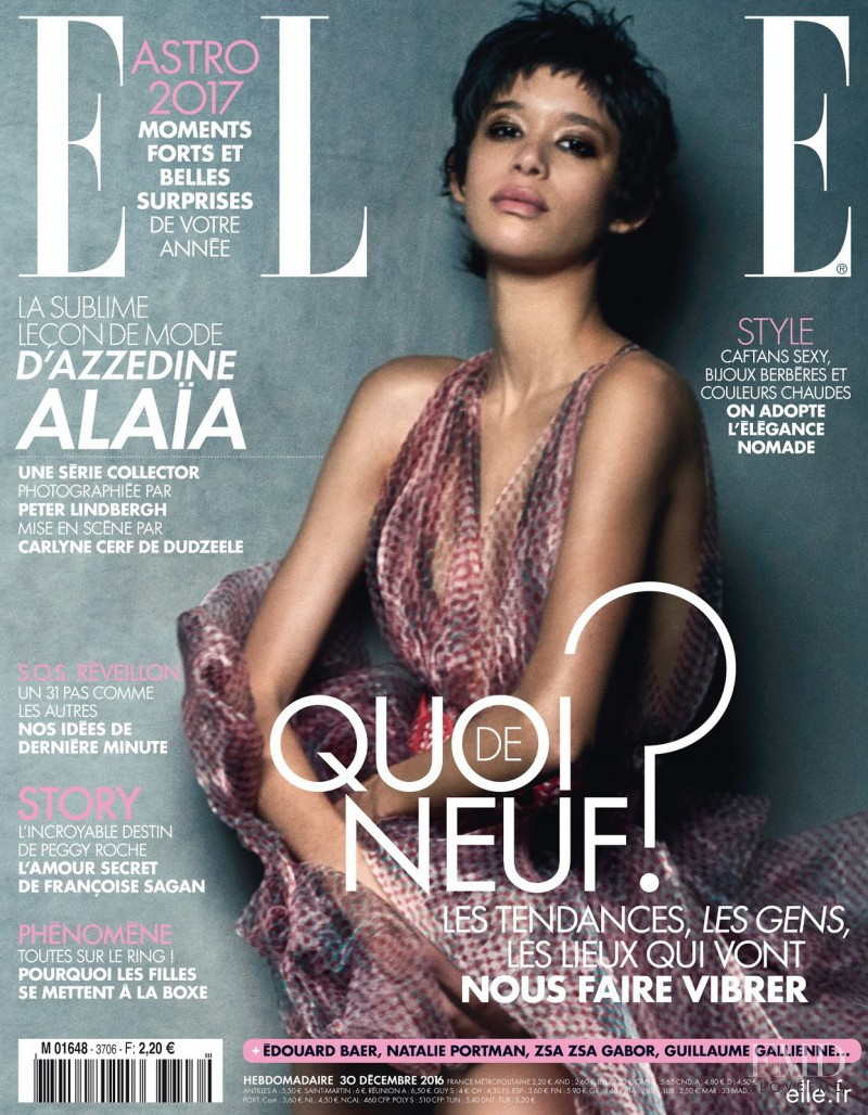 Janiece Dilone featured on the Elle France cover from December 2016