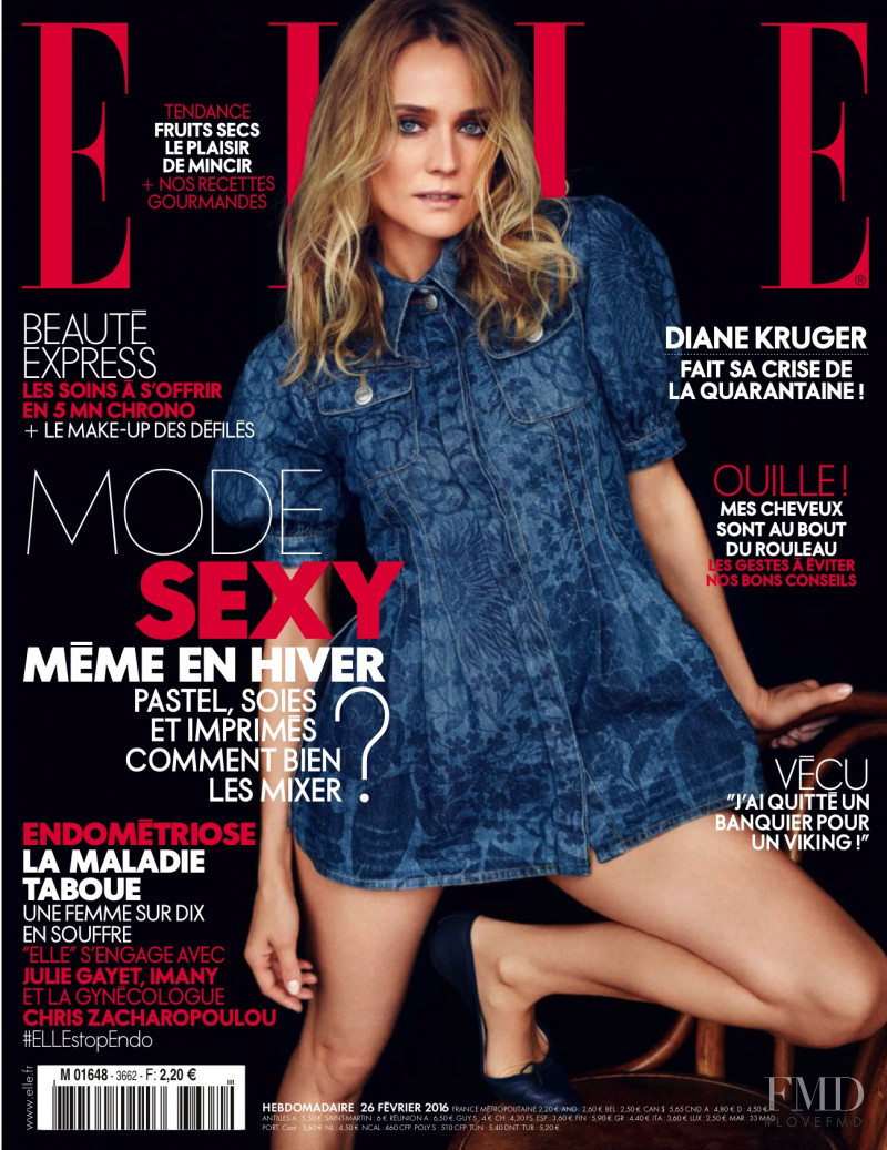 Diane Heidkruger featured on the Elle France cover from February 2016