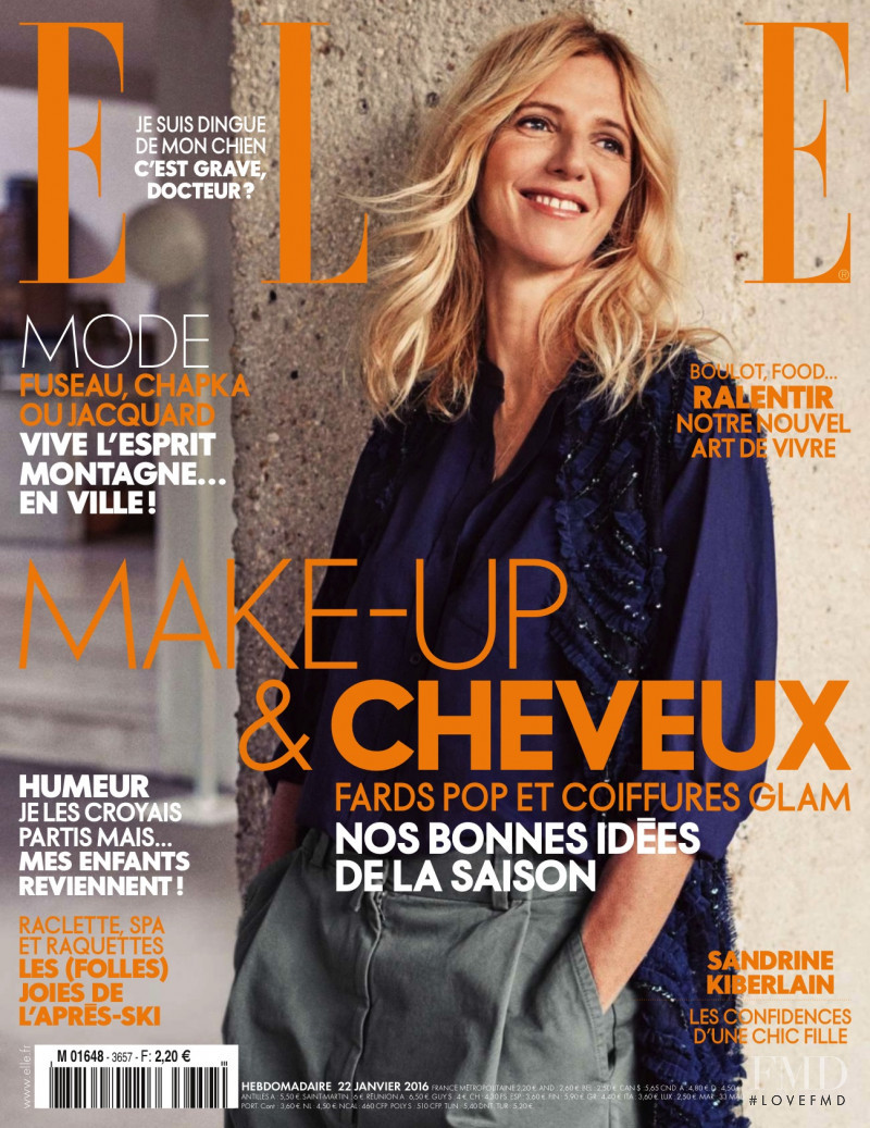 Sandrine Kiberlain featured on the Elle France cover from January 2016
