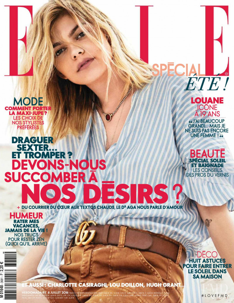 Louane featured on the Elle France cover from July 2016