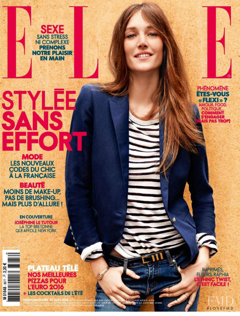 Joséphine Le Tutour featured on the Elle France cover from June 2016