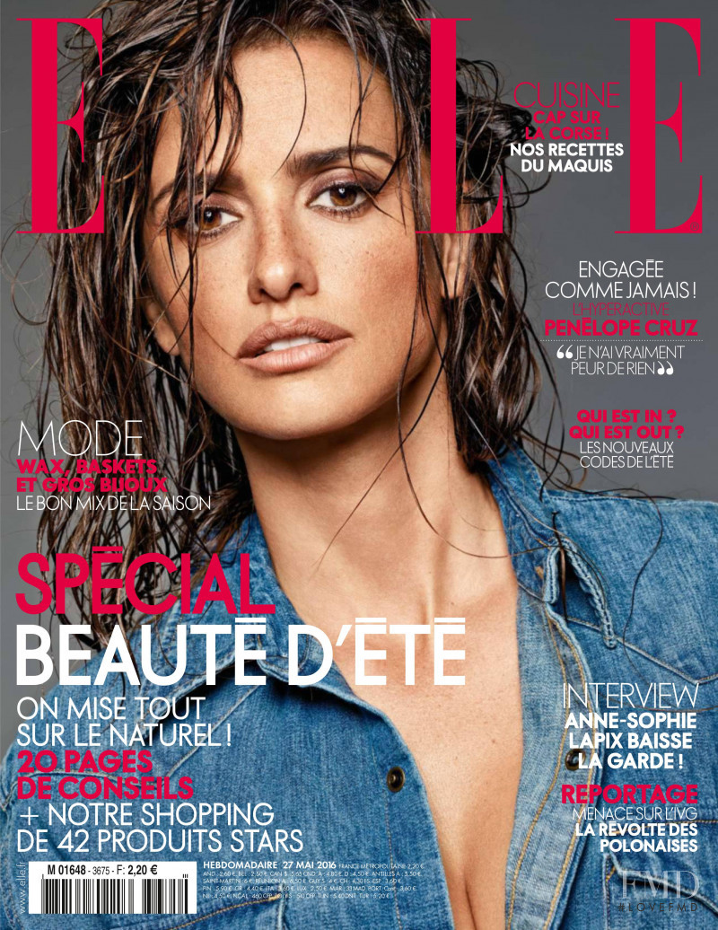 Penelope Cruz featured on the Elle France cover from May 2016