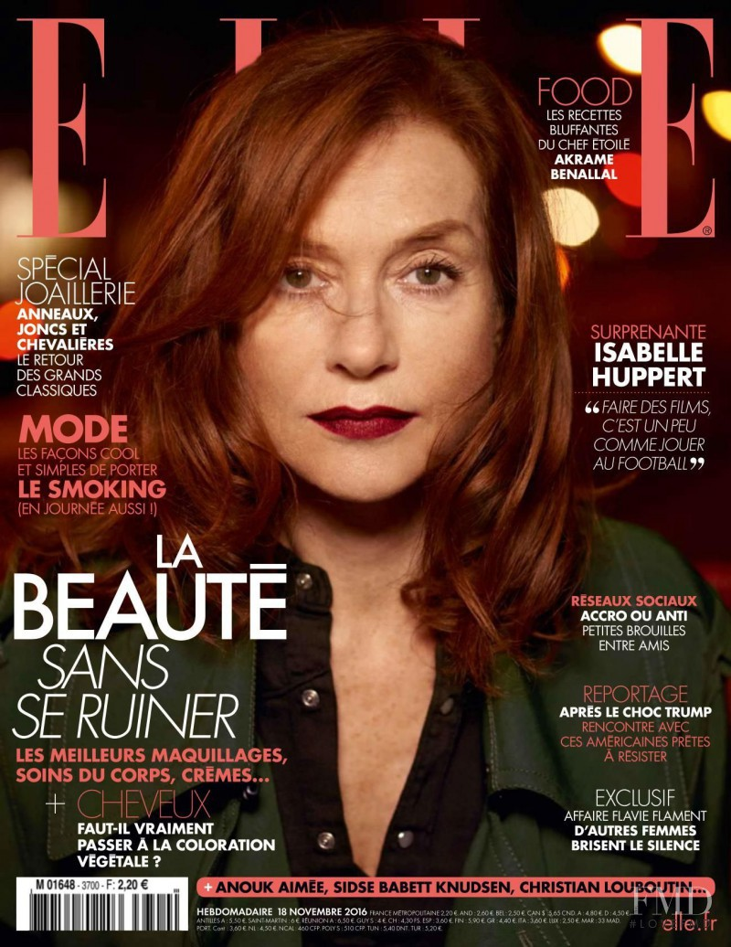 Isabelle Huppert featured on the Elle France cover from November 2016