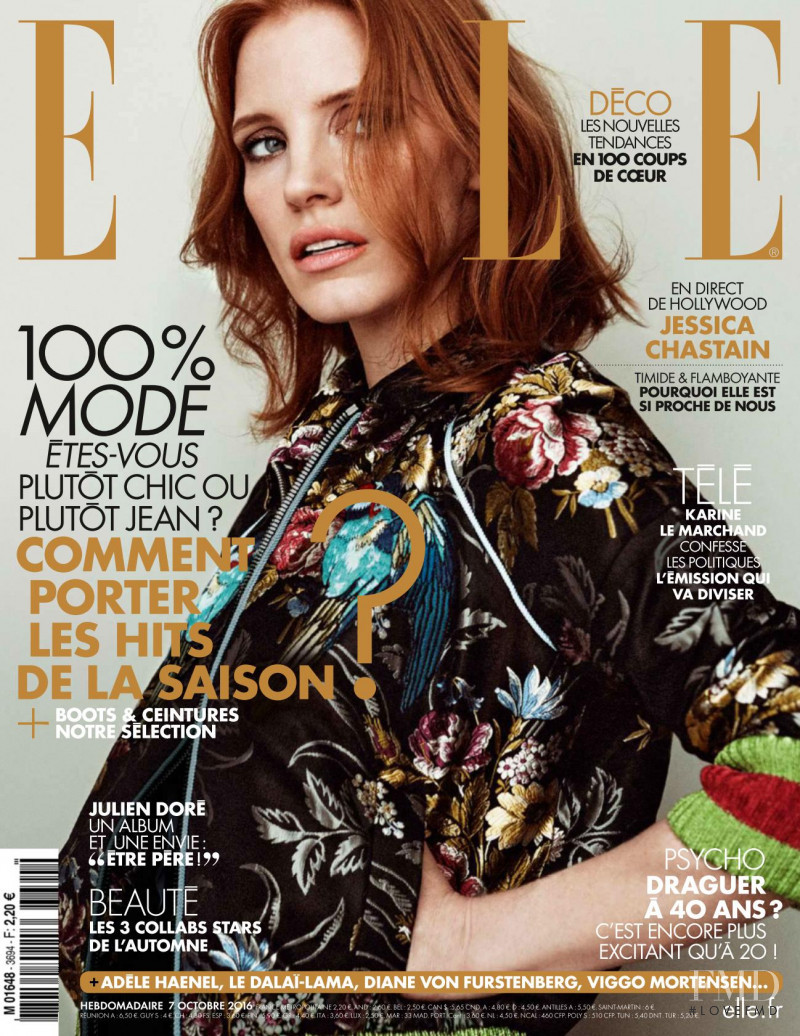 Jessica Chastain featured on the Elle France cover from October 2016