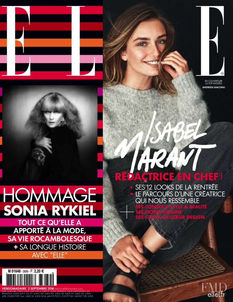Andreea Diaconu featured on the Elle France cover from September 2016