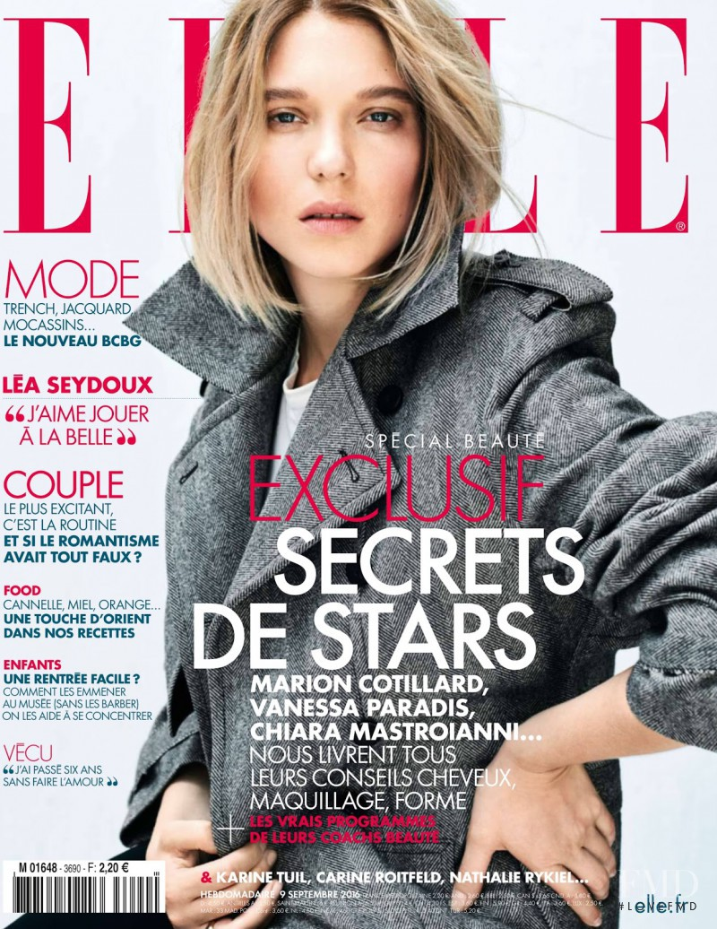 Lea Seydoux featured on the Elle France cover from September 2016