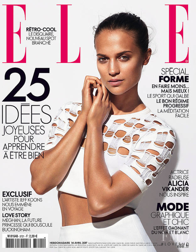 Alicia Vikander featured on the Elle France cover from April 2017
