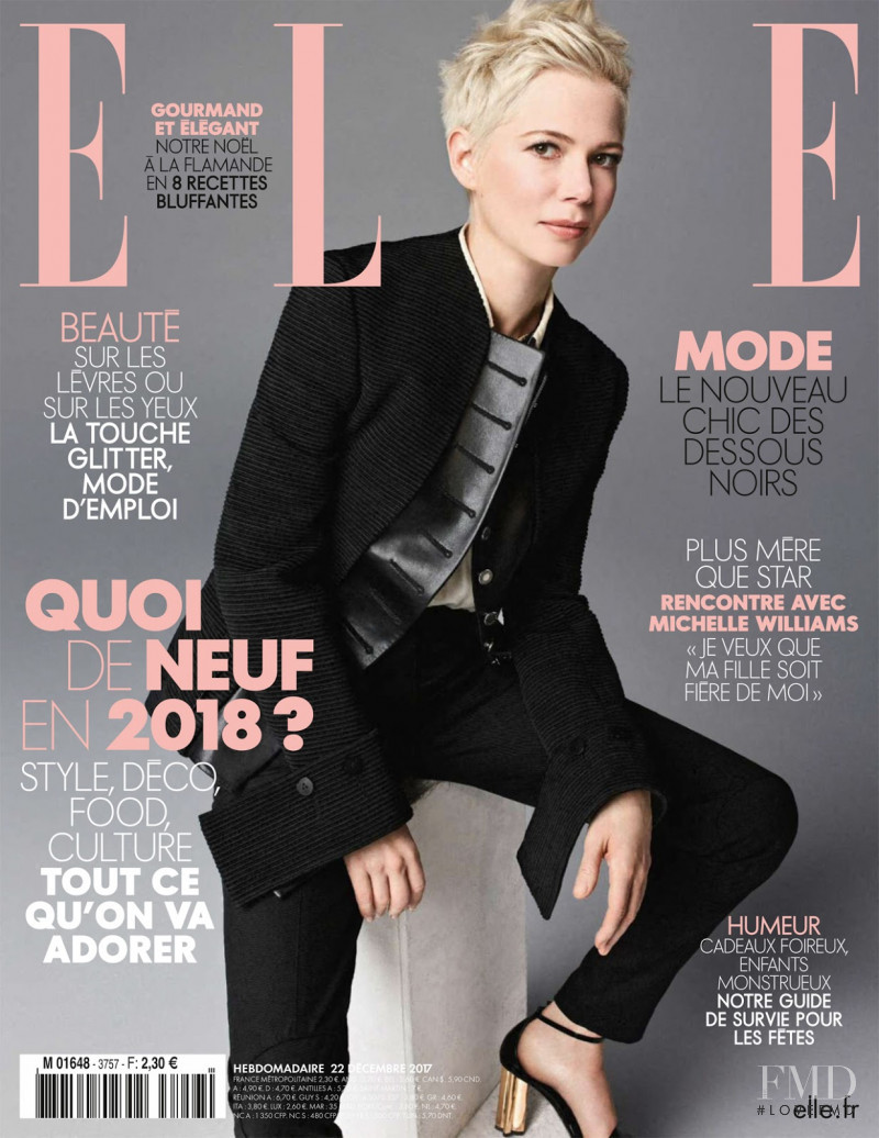 Michelle Williams featured on the Elle France cover from December 2017